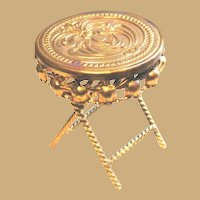 Antique doll house Ormolu miniature Repousse round Table Choice of size