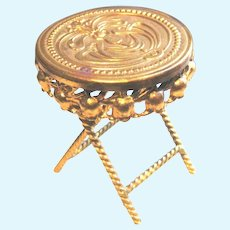 Antique doll house Ormolu miniature Repousse round Table size Choice