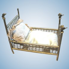 Antique metal Bird finial miniature doll Bed