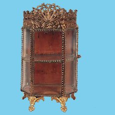 Antique French ormolu glass small Vitrine decorative crown