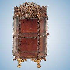 Antique French ormolu glass small Vitrine decorative crown