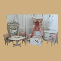 Fabulous French antique Gottschalk doll house pink silk Bedroom Suite Mignonette
