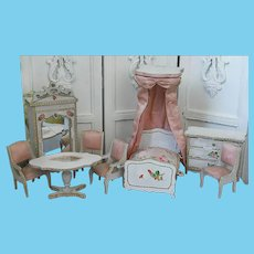 Fabulous French antique Gottschalk doll house pink silk Bedroom Suite