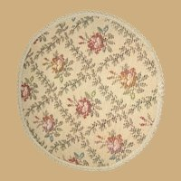Dollhouse Antique Miniature Carpet Pink floral Tapestry rug