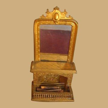 Antique miniature doll house furniture German Erhard & Söhne Ormolu decorative Fireplace