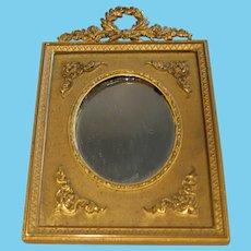 Beautiful ornate French antique doll gilt ribbon Mirror