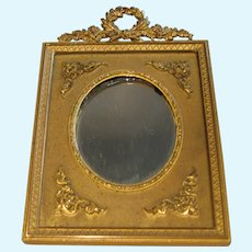 Beautiful ornate French antique doll gilt ribbon Mirror