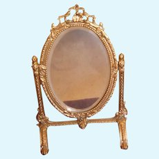 Antique Doll small oval gilt beveled dressing Mirror