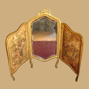 Antique Doll Scenic miniature silk beveled mirror ormolu Screen