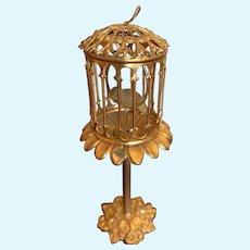 Antique Ormolu doll house miniature Bird cage on Stand rare
