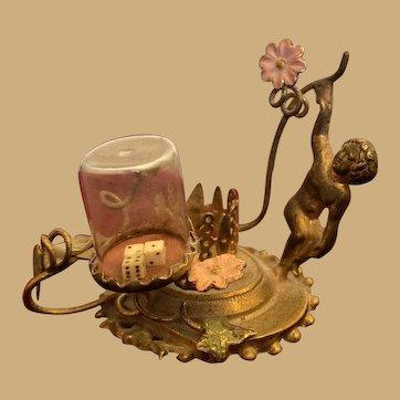 Rare miniature decorative Figural floral Dice holder
