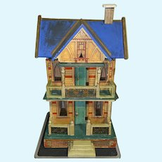 Antique Gottschalk 2 room Lithograph Blue Roof Wood Doll house