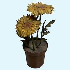 Antique miniature Austrian Bronze big Yellow Flower Pot
