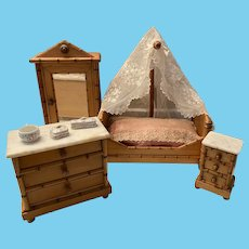 Antique toy miniature small Doll furniture French Faux bamboo Bedroom Suite