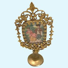 Antique gilt metal doll house miniature Picture Mirror 2 sided decorative frame