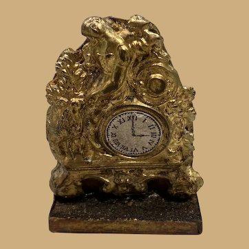 Antique German miniature doll house ormolu Elaborate Figural early Decorative clock