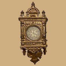 Antique German Miniature Doll House Gilt heavy metal early wall Clock