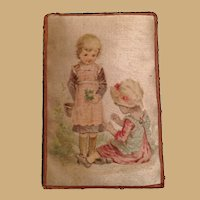 Antique unusual miniature silk Picture Children doll house vignette