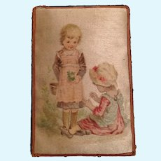 Antique unusual miniature silk Picture Children doll house vignette
