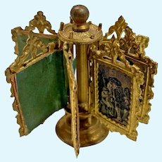 Antique German embossed ormolu doll house miniature  Revolving Display stand Lithograph Pictures