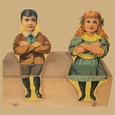 Two Paper LITHO Wood antique DOLLS