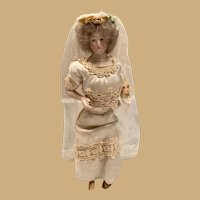 """7"""" German bisque Doll House Bride lady"""