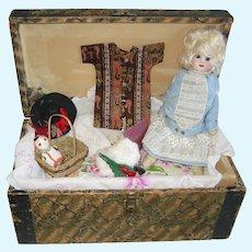 """Glass eye 9"""" German bisque antique Doll Trunk wardrobe Accessories"""