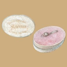 Antique doll French Fashion small oval box miniature Wedding Rings