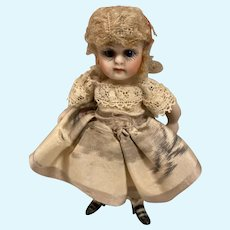 """Antique Doll House doll 3 1/4"""" all Bisque"""