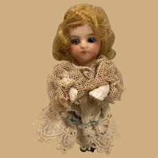 """Antique small all bisque Mignonette jointed 3 1/2"""" Doll Lace dress"""