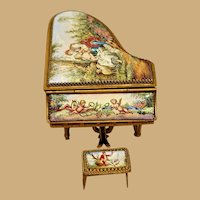 Antique doll Viennese Austrian Enamel Miniature Piano With Piano Stool