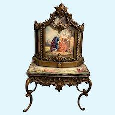 Antique Viennese Austrian Enamel Miniature Secretary desk Vanity Mignonette Doll Choice