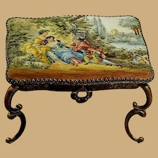 Antique doll Viennese Austrian Enamel Miniature Table with drawer