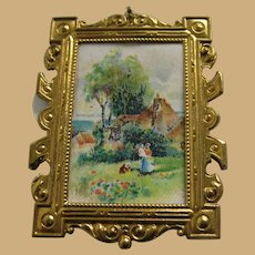 Antique Ormolu Scenic Picture doll house miniature Choice