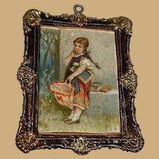 Antique German doll house miniature Asphaltum Floral Girl Picture