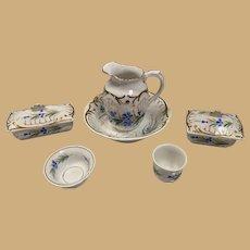 Antique doll French flowered porcelain Blue gold floral Toilette wash set