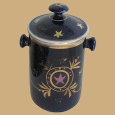 Antique French Doll child's Colbalt milk creme decorated  Pot de Creme
