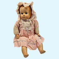 Antique compo hard plastic doll cloth body Original clothes bonnet