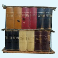 Unusual Miniature antique Bookcase Books candy container