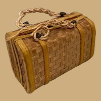 French antique doll Fashion miniature Suitcase travel  Bag