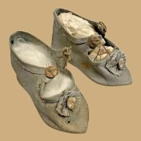 Antique Fashion doll Blue fabric pointed Shoes