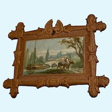 Antique Doll House miniature German brown small Scenic picture