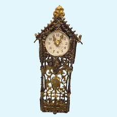 Antique Miniature Doll House Asphaltum finish Filigree wall Clock