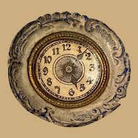 Antique German doll house miniature Marklin Blue decorative metal wall Clock