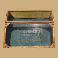 Antique advertising tin slanted gilt green panels display Case Showcase