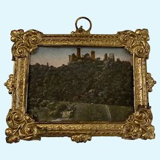 Antique doll house miniature Scenic picture Ormolu frame Choice