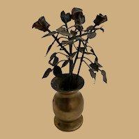 Antique French miniature bronze Pot Black metal Flowers