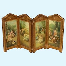 Antique Florentine Italian 4 panel folding small Doll Screen