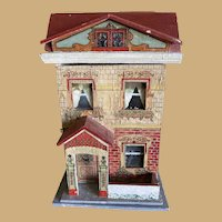 Antique paper litho wood Doll House small Red Roof
