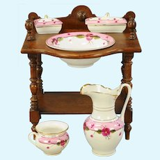 Antique Doll wood wash stand porcelain Toilette Set RS Prussia